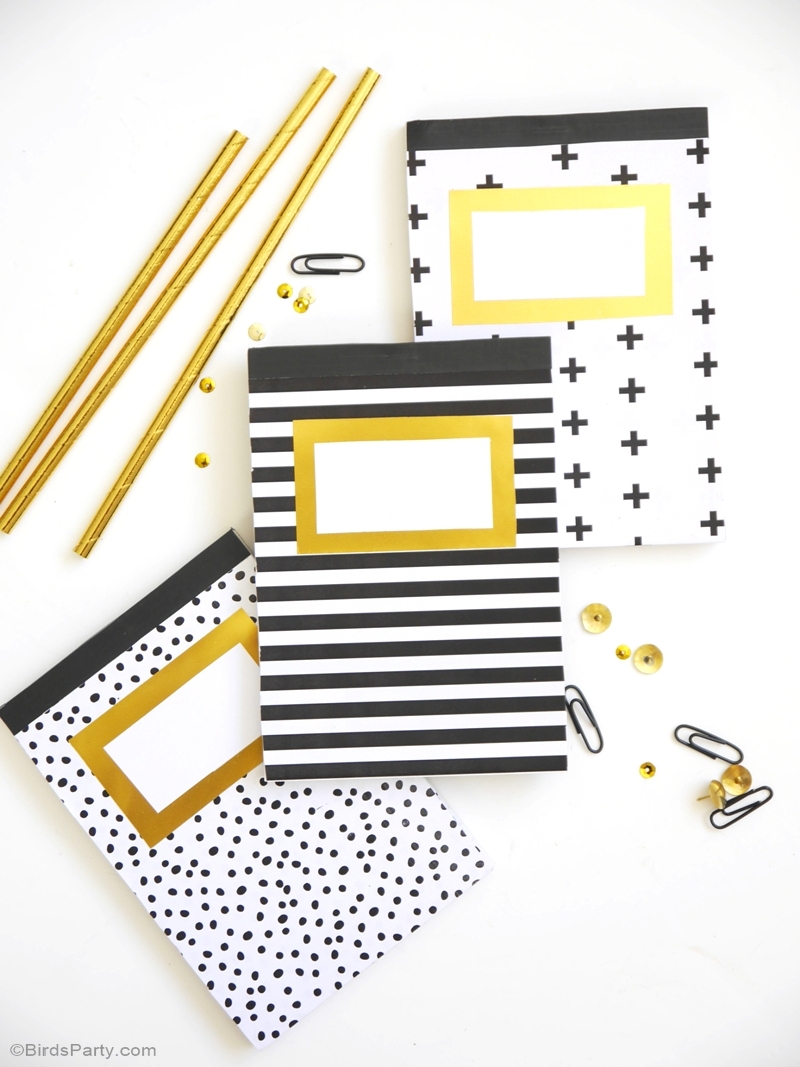 Geometric pattern and gold foil customized DIY notebooks for back to school | BirdsParty.com