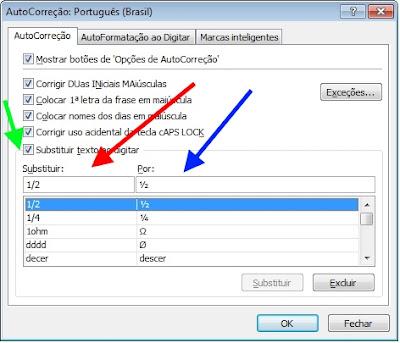 Excel - Opções de autocorreção