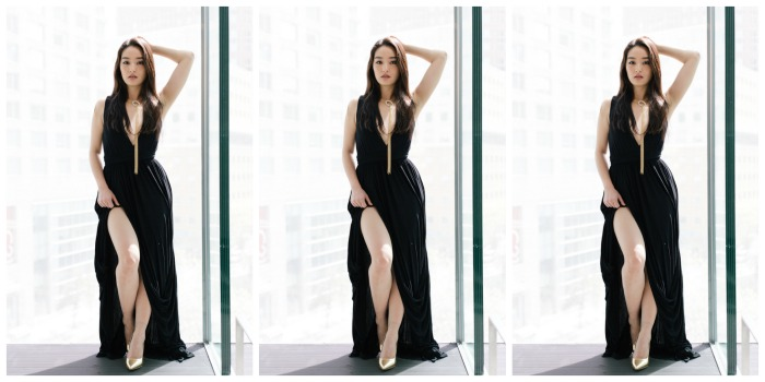 korean fashion blogger wearing a gown