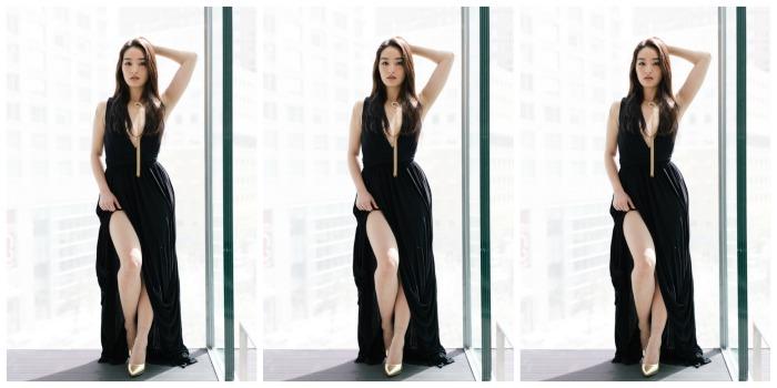korean fashion blogger wearing a gown