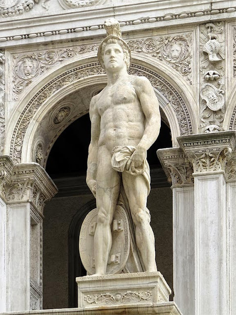 Statue of Mars by Jacopo Sansovino, Scala dei Giganti, Giants' Staircase, Courtyard of the Doge's Palace, Venice