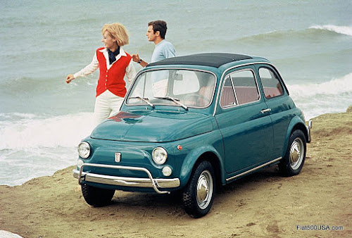 Classic Fiat 500 on Beach