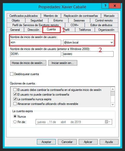 Propiedades de un usuario de Active Directory - Cuenta.