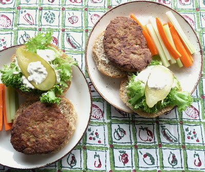 Buffalo Chicken Burgers with Blue Cheese Dressing and Vegetable Sticks