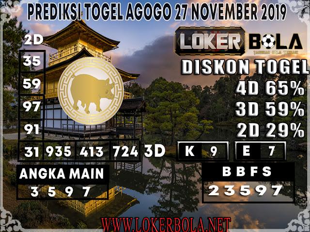 PREDIKSI TOGEL AGOGO LOKERBOLA 27 NOVEMBER 2019