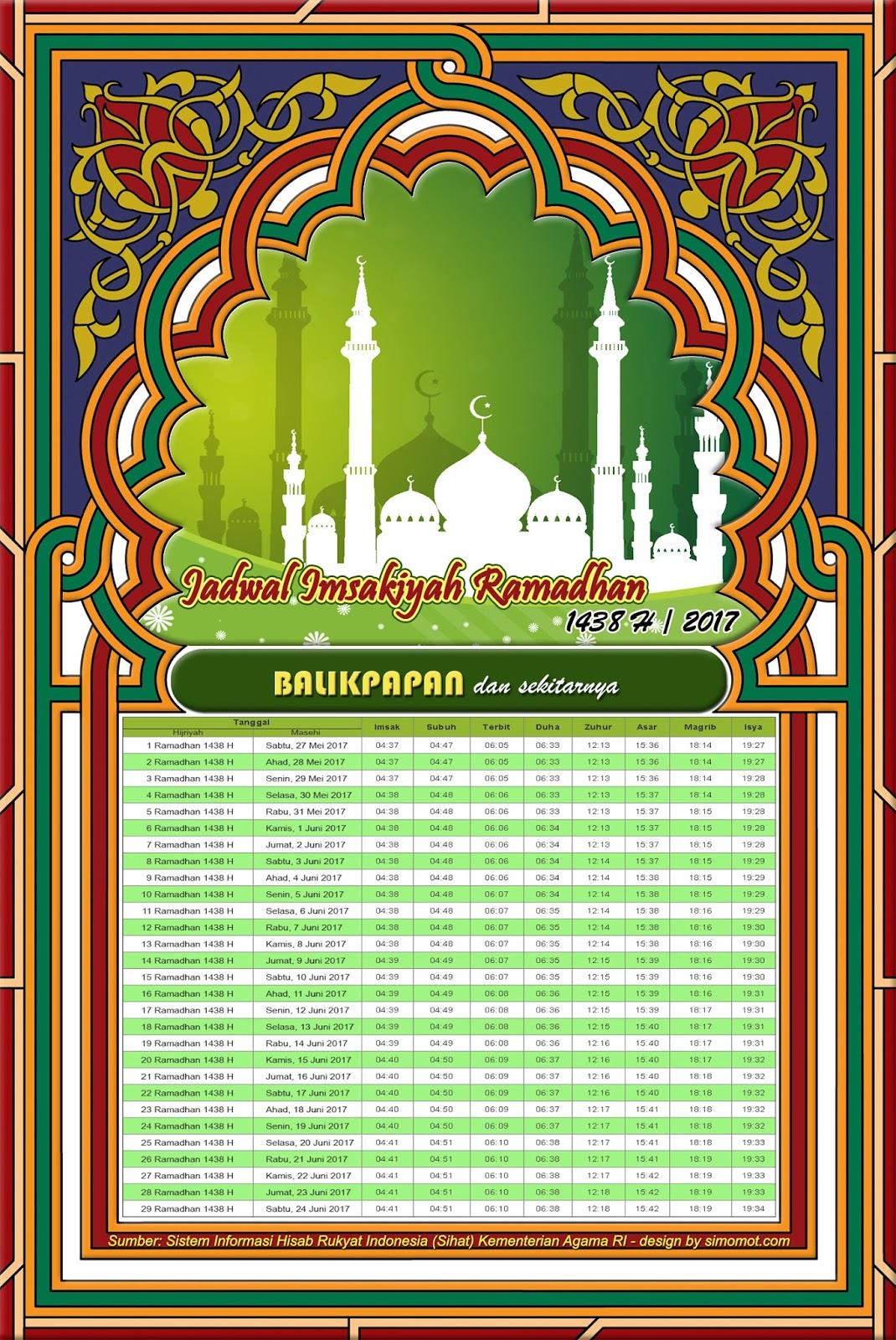 Jadwal Imsakiyah Balikpapan 2017 -  Ramadhan 1438 H