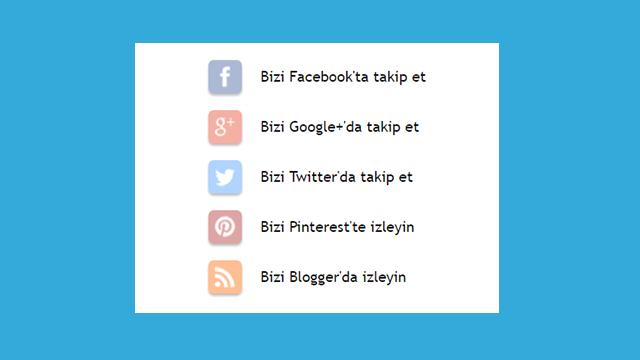 Sosyal Medya Blogger İzleme Düğmeleri