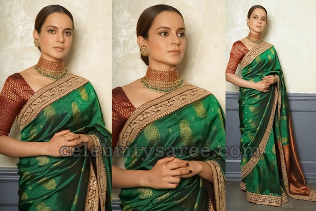 Kangana Ranauth in Green Sabyasachi Saree