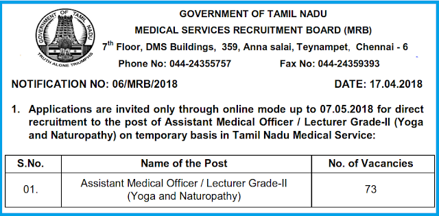 TNMRB Recruitment 2018: 73 Asst Medical Officer and Lecturers Posts Vacancy