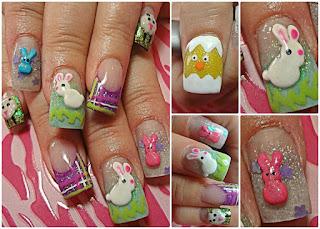 sheep, rabbits, and Peep Easter nails