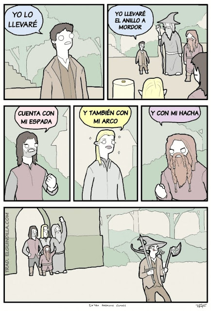Meme de humor sobre el concilio de Elrond de El señor de los anillos