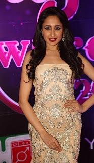 Pragya Jaiswal in lvoely Cream Shoulder less Designer Dress at Apsara Awards 2016