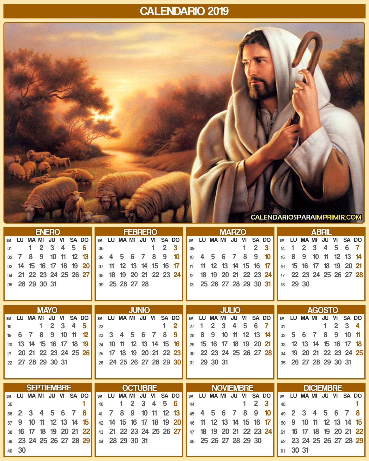 calendario 2019  religioso jesus para imprimir