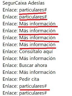 lista de enlaces de la web de Adeslas, sin informacion relevante