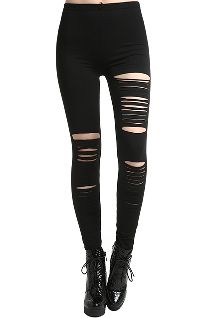 ROMWE Distressed Black Slit Leggings