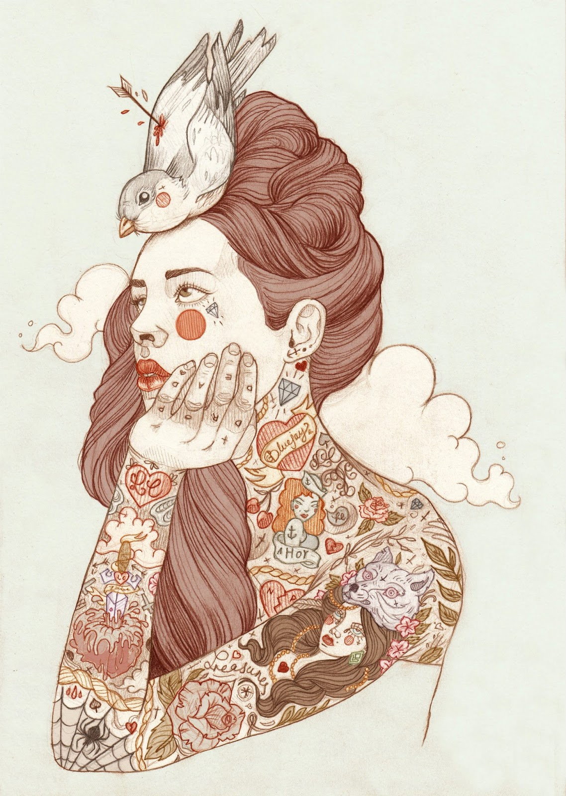 Illustration Tattoos: Skull Blood: Spotlight On: Liz Clements Illustration