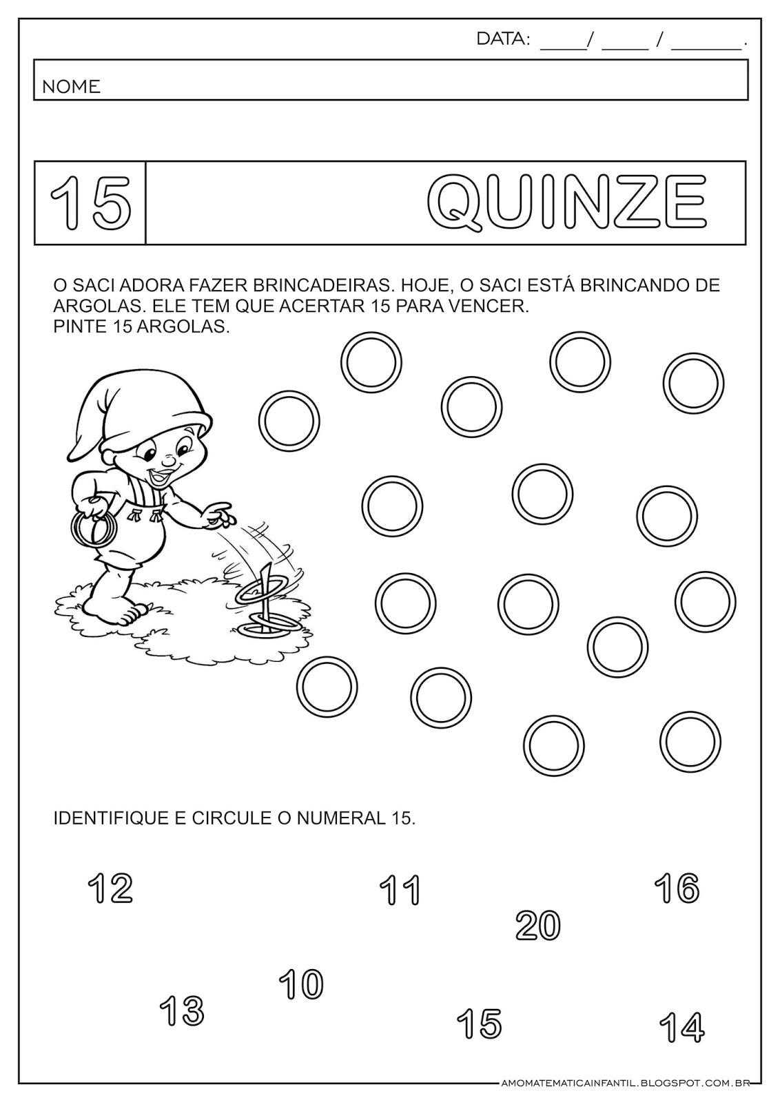 Matemática Infantil Atividade Numeral 15 11 A 15 Saci Folclore
