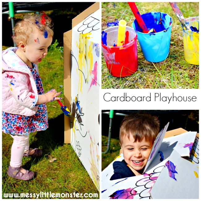 Painted cardboard playhouse.  These colour or paint your own house are perfect for inspiring imagination and creativity. This activity is suitable for toddlers and preschoolers.