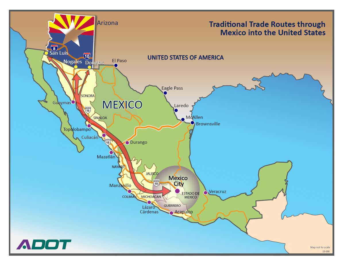 each year some 330 000 trucks and 75 000 train cars carrying 17 billion worth of goods move through nogales according to u s customs and border