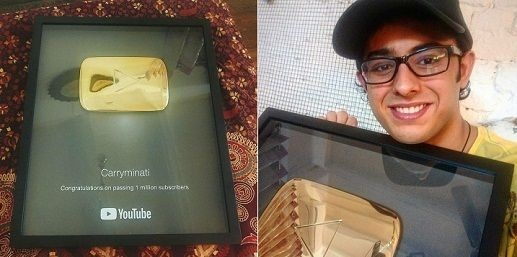 CarryMinati With His Gold Play Button
