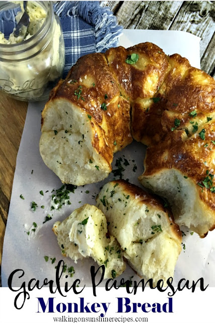 Garlic Parmesan Pull Apart Monkey Bread Biscuits Recipe.