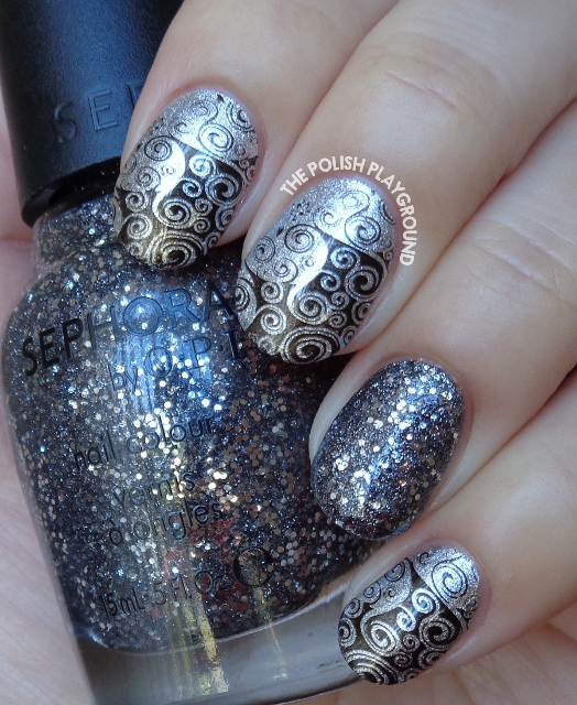 Silver and Black Swirly Side Stamping Nail Art
