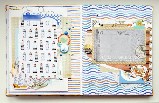 Nautical album | Eyelet Outlet DT @akonitt #album #eyeletoutlet #polkadot #nauticalalbum #enamels #brads
