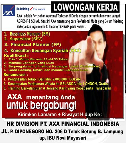 Job in Lampung PT. AXA Financial Indonesia