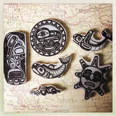 Photo of multiple Haida Tribals Stamps, the Raven, Sun, Beaver,  & Killer Whale,