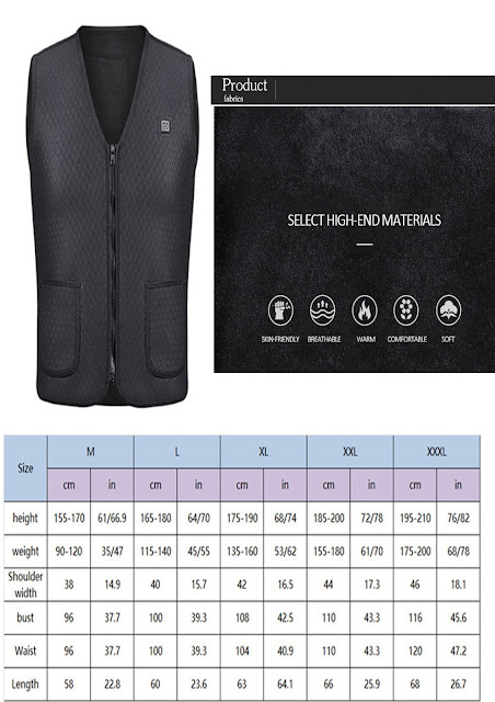 Outdoor warm electric USB Charging heated Vest