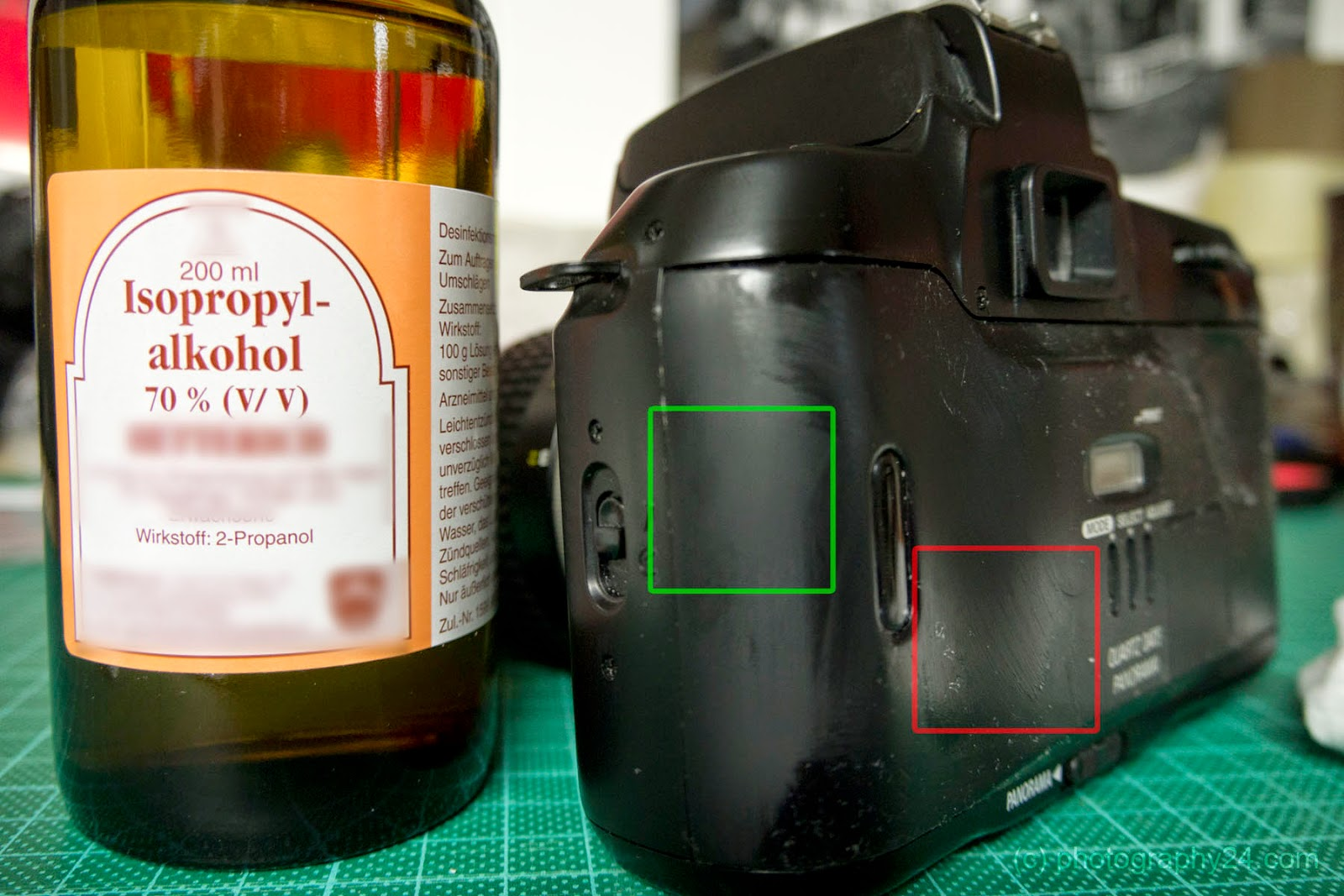 Nikon F70d Sticky Back Red Before Green After