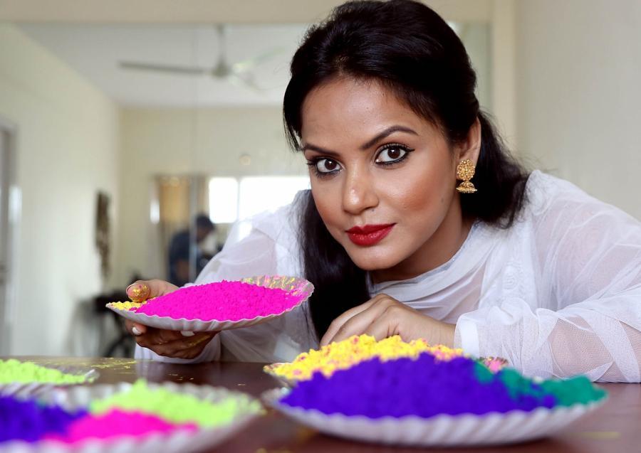 Actress Neetu Chandra Holi Celebration Stills In White Dress