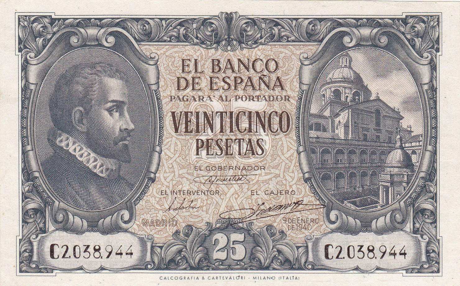 Spain Banknotes 25 Pesetas banknote 1940 Juan de Herrera and view of the Courtyard of the Evangelists of the Monastery of San Lorenzo de El Escorial