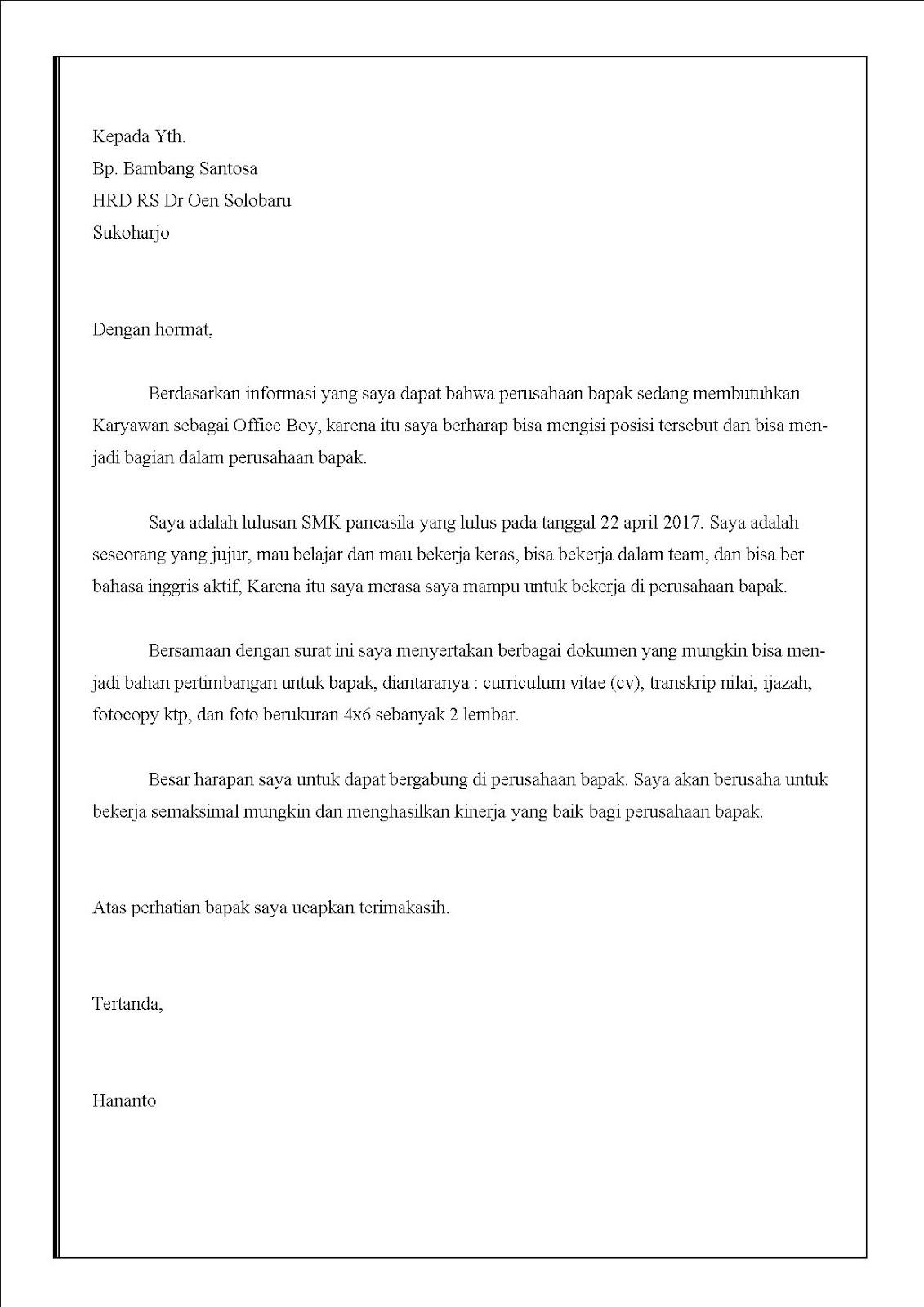 Contoh Surat Lamaran Kerja Office Boy Di Rumah Sakit