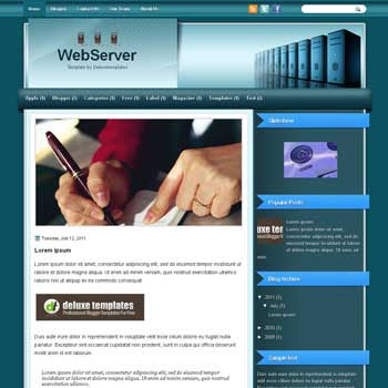 WebServer blogger template. template blogspot magazine style. download white background blogger template