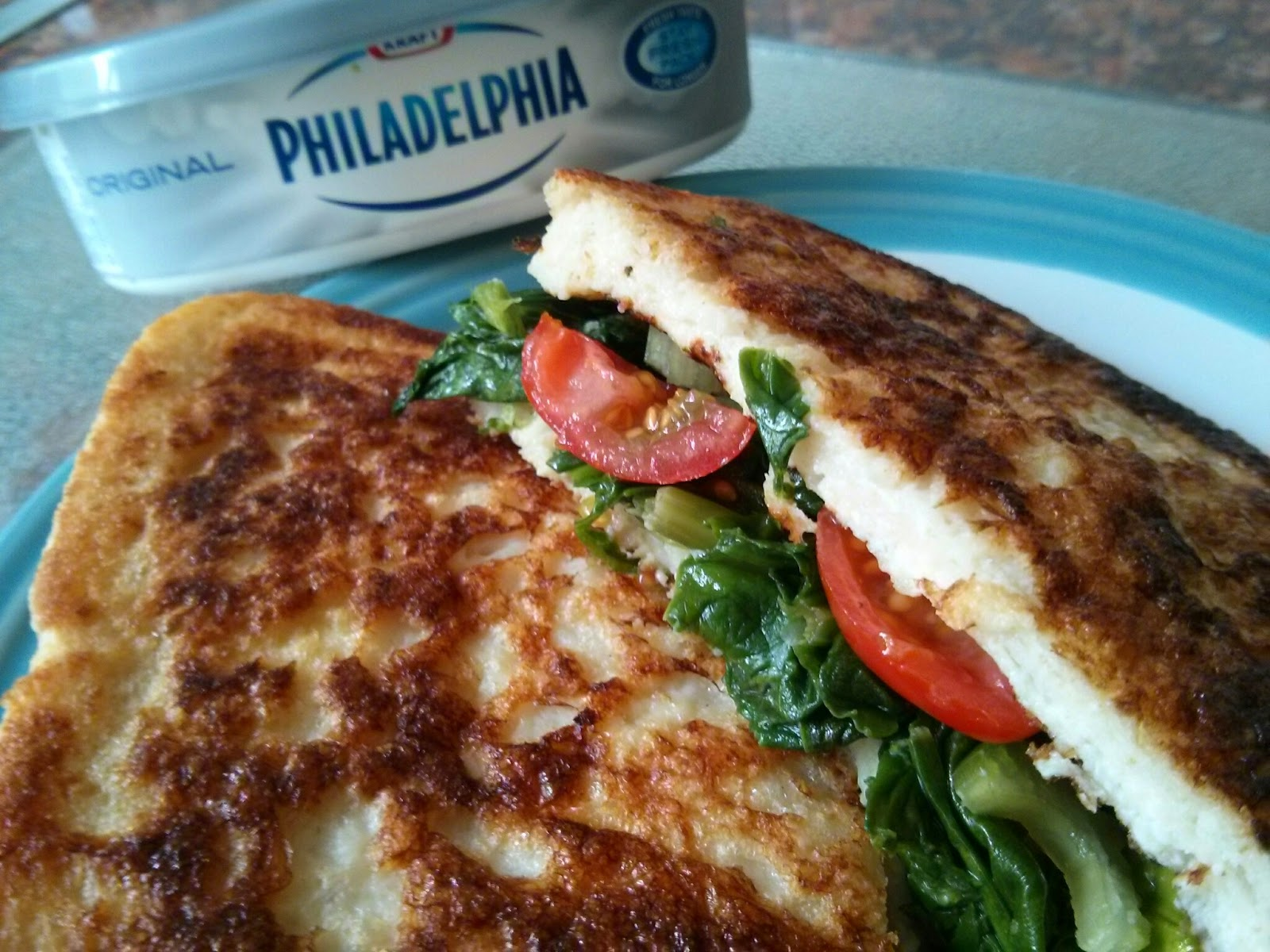 Millionaire's Spinach, Tomato and Philadelphia sandwich.