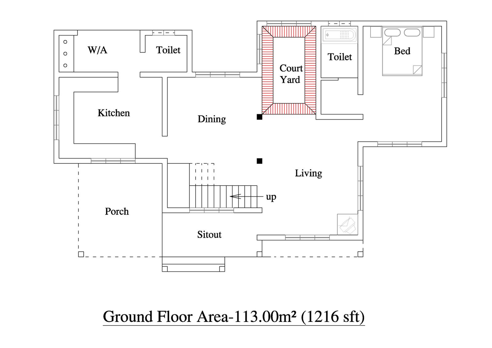 2055 Sqft 3bhk House Plan Kerala Home Floor