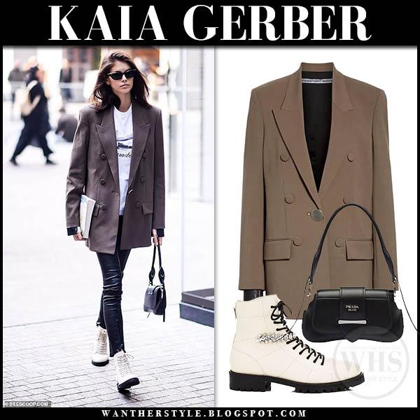 d9a37863d8b10e Kaia Gerber wearing brown oversized Alexander Wang blazer, leather pants  and white Jimmy Choo combat
