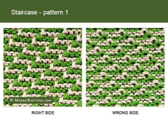 Mosaic Knitting - Two color Knitting stitch pattern. Right side vs wrong side of the Staircase stitch - pattern 1