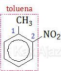 Penamaan turunan benzena: 1-metil-2-nitrobenzena, o-metilnitrobenzena, 2-nitrotoluena, o-nitrotoluena