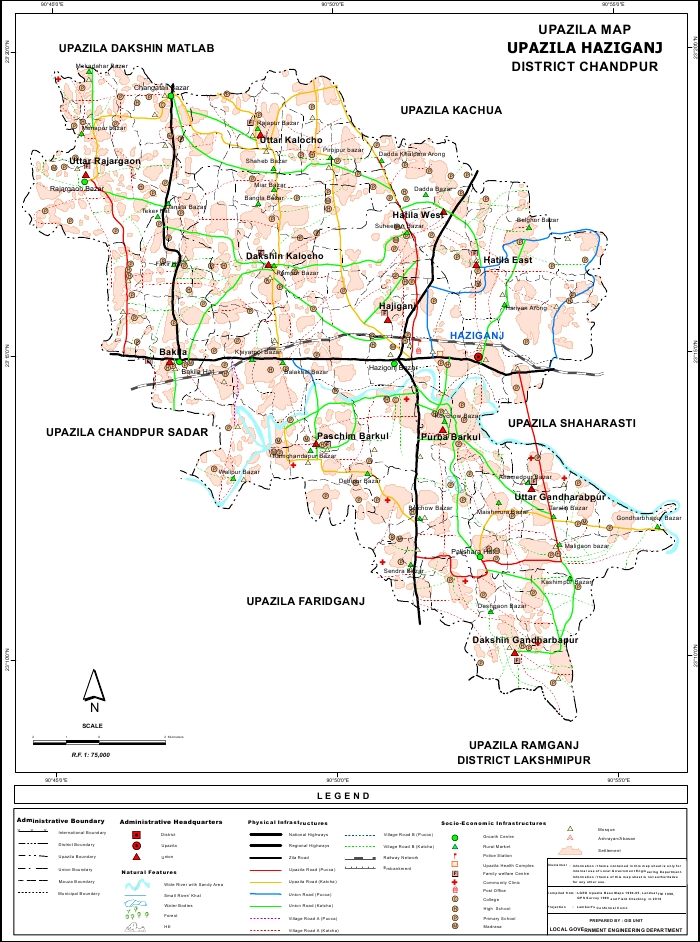 Haziganj Upazila Map Chandpur District Bangladesh
