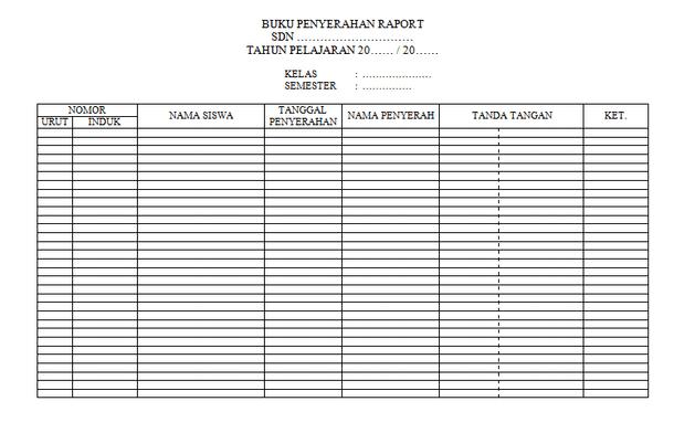 File Pendidikan Contoh Buku Penyerahan Raport Sd Format Tabel Microsoft Word
