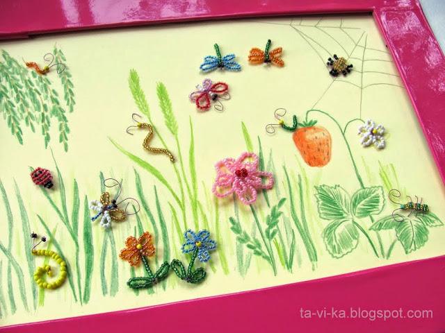 насекомые из бисера - панно
