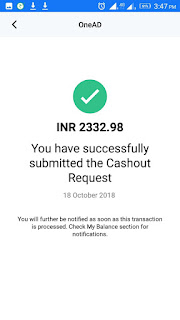 OneAd Payment Withdraw Proof