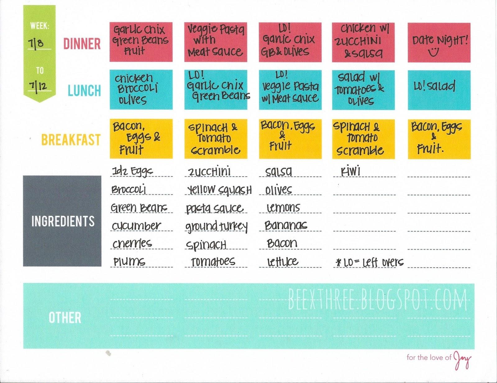 Three B's: Whole 30 Meal Plan: Week 1