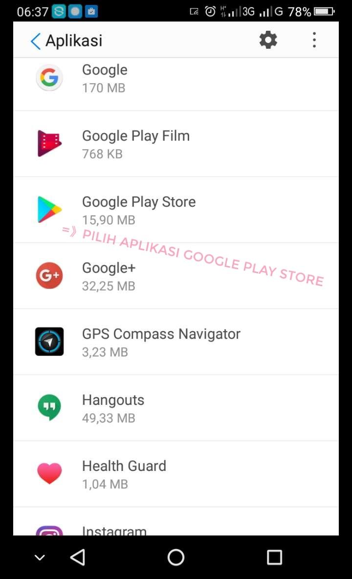 Pilih google playstore
