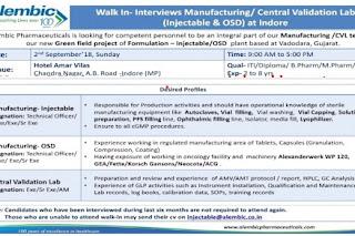 Alembic Pharmaceuticals Ltd Walk In Interview For M.Pharm, B.Pharm, D.Pharm, B.Sc, ITI at 2 September