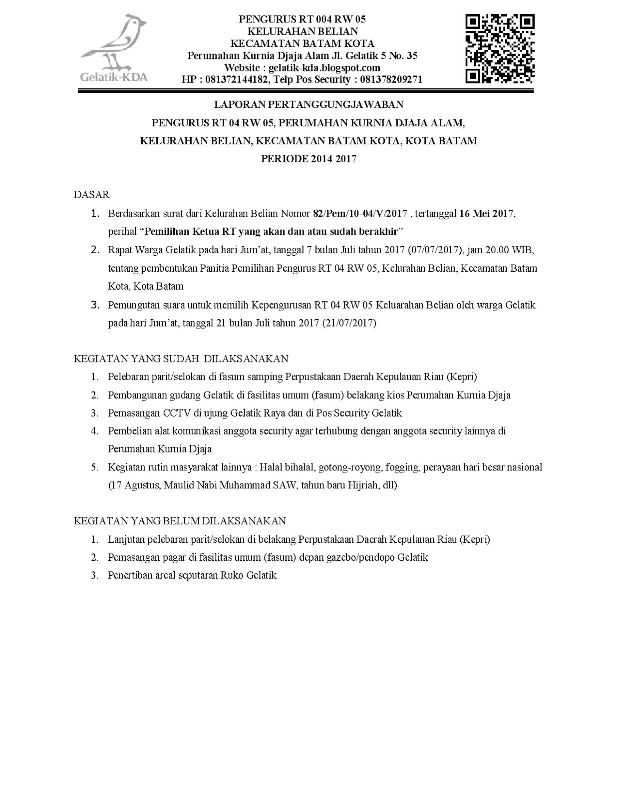 Laporan Pertanggungjawaban Pengurus Rt Gelatik 2014 2017