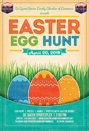 Easter Egg Hunt at the De Queen Sportsplex this Saturday - Easter Bunny will be there!
