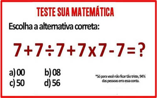 Teste de matemática - Expressões Numéricas